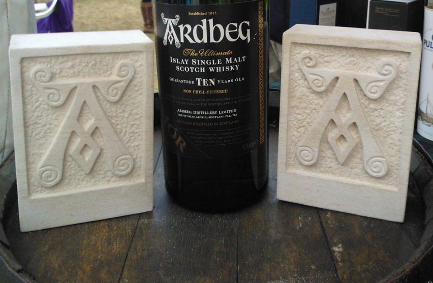 Ardbeg Whisky - carved in Ancaster hard white